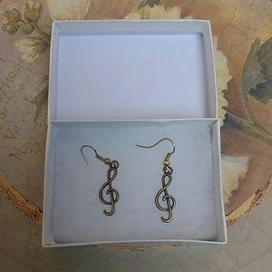 Jewelry - Treble clef music earrings - for pierced ears